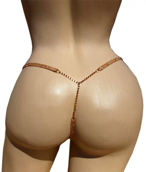 SEXY XSTRINGS GOLD MESH RUBY RHINESTONE T-BAR G-STRING