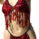 SEXY JUNGLE GIRL RED ANIMAL PRINT FRINGED BRA TOP & THONG SET - ONE SIZE