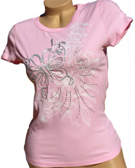SUPER SALE* NEW SEXY PINK WOMENS T-SHIRT TEE W/ RHINESTONES & BUTTERFLY* SMALL* MEDIUM* or LARGE