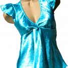 SUPER SALE* SEXY AQUA BABYDOLL TOP W/ FLUTTER SLEEVES & SWEETHEART NECKLINE* SMALL* or LARGE*