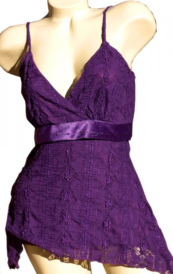 SUPER SALE* SEXY PURPLE CLUB TUNIC W/ SPARKLY SATIN SASH* MEDIUM *LARGE or *EXTRA LARGE