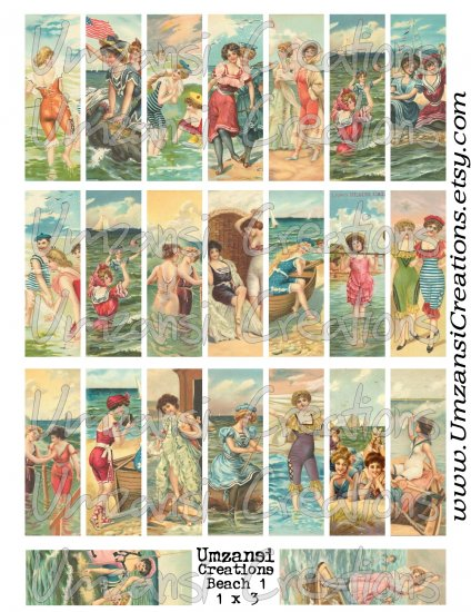 23 VINTAGE BEACH LADIES images for Microscope Slide Collage Sheet - Digital Download - Size 1x3