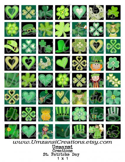 56 SHAMROCK - ST PATRICKS DAY - inchies - Digital COLLAGE SHEET for SCRABBLE TILES PENDANT AND MORE