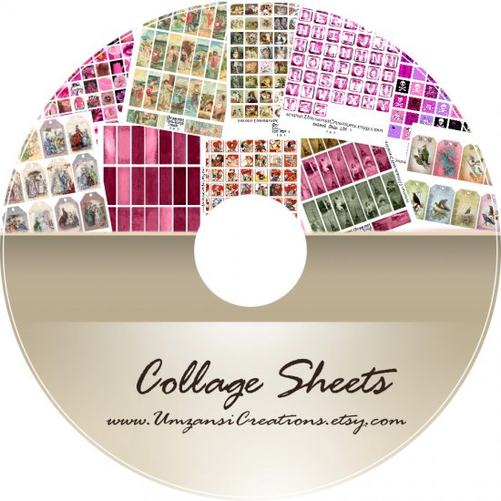 COLLAGE SHEETS MIX 1 CD vintage altered art - clip art 108 Sheets! ONLY 0.46 cent per SHEET