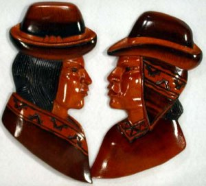 Carved Head Figures Wooden Handmade in Peru