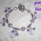 Purple Hearts, Sterling Purple Lampwork Crystal Bracelet