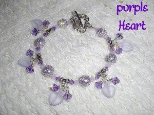 Purple Hearts, Sterling Purple Lampwork Crystal Bracelet