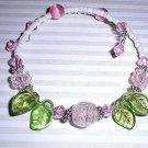 Pink & Green Floral Crystal Bracelet