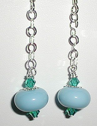 Sterling Aqua Lampwork Dangle Earrings