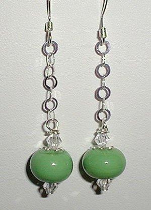 Sterling Green Lampwork Dangle Earrings