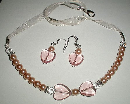 Peach Hearts Necklace & Earring Set