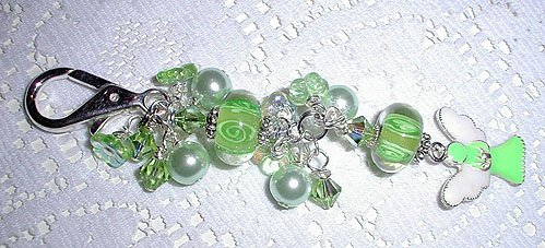Angel Swarovski Lampwork Purse Charm, Key Ring