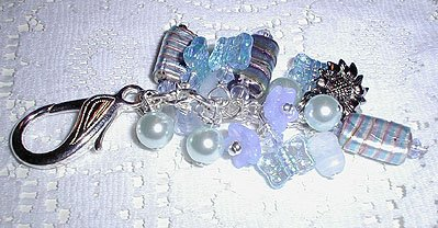 Blue Lampwork Purse Charm, Key Ring