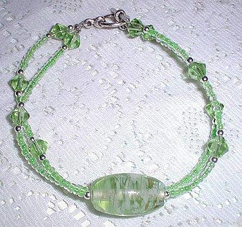 MJs, 2 Strand Green Lampwork Crystal Bracelet