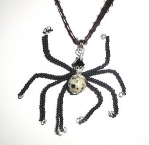 MJ's Black Widow Beaded Spider Necklace, Scary
