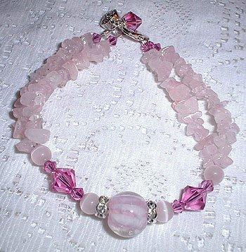 MJs Sterling Swarovski Rose Quartz Bracelet