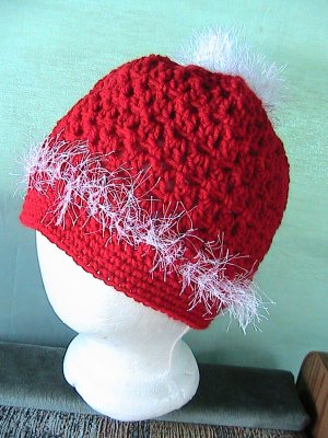 Crochet PonyTail Hat Red with White