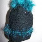 Crochet PonyTail Hat Black with Teal