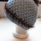 Crochet PonyTail Hat Baby Blue with Brown