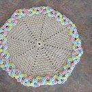 Crochet Ecru and Pastel Doily by Vintage Stitchez