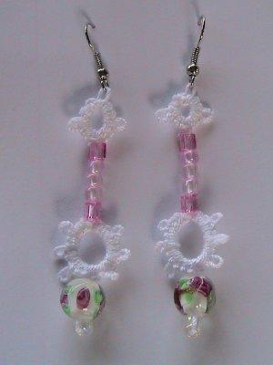 Pink Rosebud Earrings - Tatted