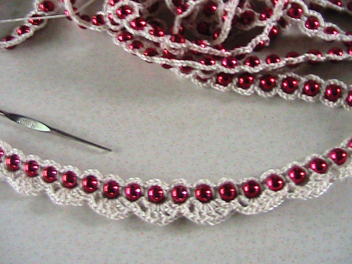 Red Beaded Crochet Garland - 18 Feet
