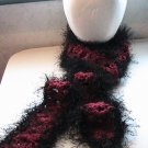 Crocheted Brick Red Tweed with Black Fun Fur Scarf