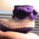 Baby Boots - Pedal Leaf - Purple and White
