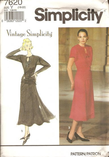 Simplicity 7620 dress plus size 18 to 22 Sewing Pattern