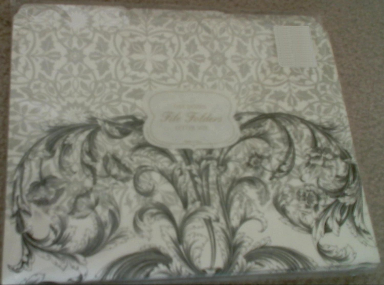 Decorative Print File Folders , set of 23 Black & White Varnish Scroll