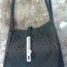 Black handbag with nickel tag & lock
