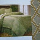 Duvet Set + Shams Bedskirt Sage/Gold Damask Diamond Jacquard King Classic Home