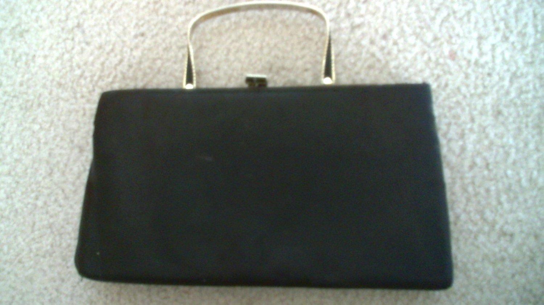 Vintage 1960's black satin evening purse with metal handle