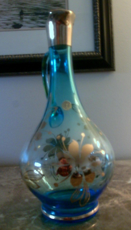 Antique Blue Glass Decanter, Gold Trim and Flowers