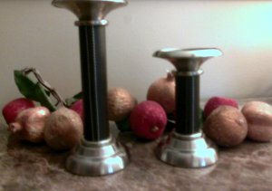 Stitched Dark Brown Leather Pillar Candle Holders Set of 2
