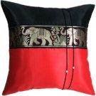 Silk Decorative Pillow Cases - Large Thai Elephant Design Red/Black