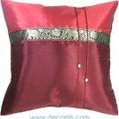 Silk Throw Cushion Cover - Dard RED Elephants Design