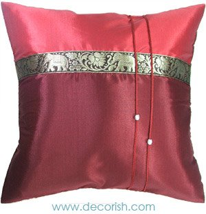 Silk Throw Cushion Cover - Dard RED Elephants Design