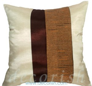 IVORY & BROWN Silk Throw Pillow Cases with 2 Tone Middle Stripe