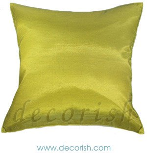 Lime Green Silk Decorative Pillow Covers