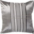 Silk Cushion Covers - SILVER/GRAY with Middle Stripe