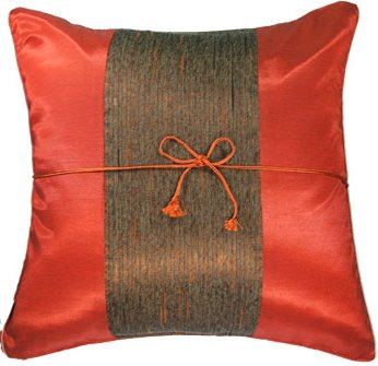 Silk Throw Pillow Cases - Orangy Red with Middle Stripe