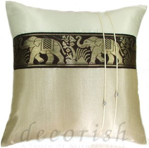 Silk Decorative Pillow Covers - Large Thai Elephant Ivory/Cream
