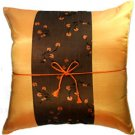 Silk Decorative Cushion Cover  -Orange  with Brown Floral Stripe
