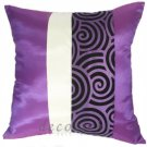 PURPLE & CREAM Silk Throw Pillow Cases with 2 Tone Spiral Middle Stripe Design