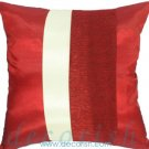 Silk Throw Decorative RED & CREAM Cushion Covers - Triple Stripe