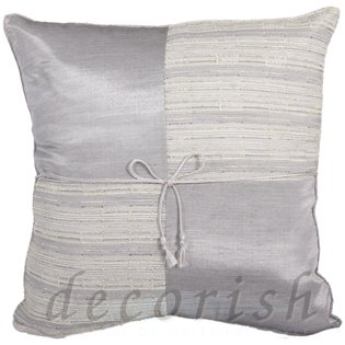 SILVER Silk Decorative Pillow Cases with Checker Design