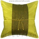 Silk Decorative Pillow Covers - LIME with Middle Stripe