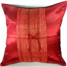 Silk Throw Pillow Covers - Red with Middle Stripe
