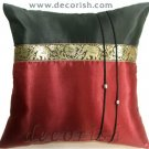 Silk Decorative Pillow Covers - Maroon & Black Thai Elephants Design